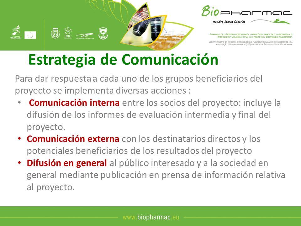 Estrategia de Comunicación Para dar respuesta a cada uno de los grupos beneficiarios del proyecto se implementa diversas acciones : Comunicación inter
