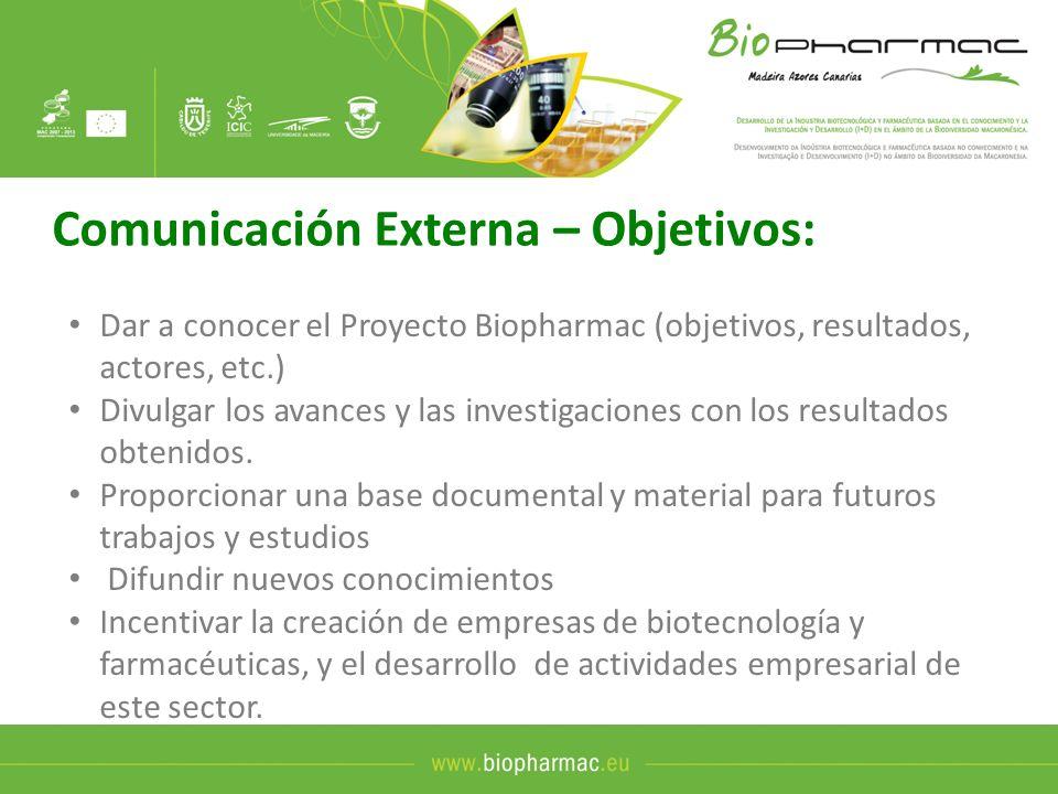 Comunicación Externa – Herramientas: Logotipo Imagen corporativa en Documentos y eventos: Web www.biopharmac.eu (disponible a partir de mayo) www.biopharmac.eu Difundir el Proyecto BIOPHARMAC a través de los sites de los socios Material promocional 1.500 Dípticos generales del Proyecto en español y portugués 4 Displays del proyecto, 1.000 Carpetas,1.000 Bolígrafos Banner para email, 250 unidades de USB con el logo del Proyecto E-books como resultado de los cursos, y workshops Medios de Comunicación Notas de prensa y artículos, difundidos a través de la web del proyecto Actos y Eventos Workshop de Biotecnología / Tenerife Mesas de Trabajo Evento intermedio de divulgación de resultados / Tenerife Conferencia Final del Proyecto
