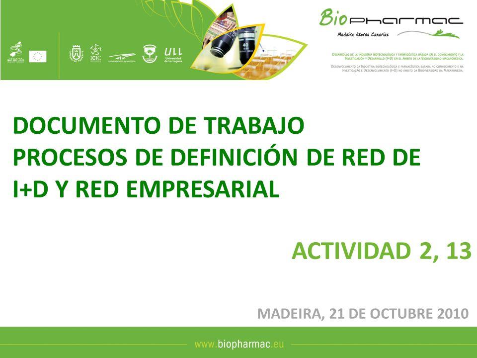 DOCUMENTO DE TRABAJO PROCESOS DE DEFINICIÓN DE RED DE I+D Y RED EMPRESARIAL ACTIVIDAD 2, 13 MADEIRA, 21 DE OCTUBRE 2010