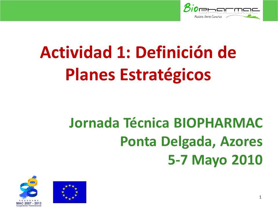 Jornada Técnica BIOPHARMAC Ponta Delgada, Azores 5-7 Mayo 2010 1 Actividad 1: Definición de Planes Estratégicos