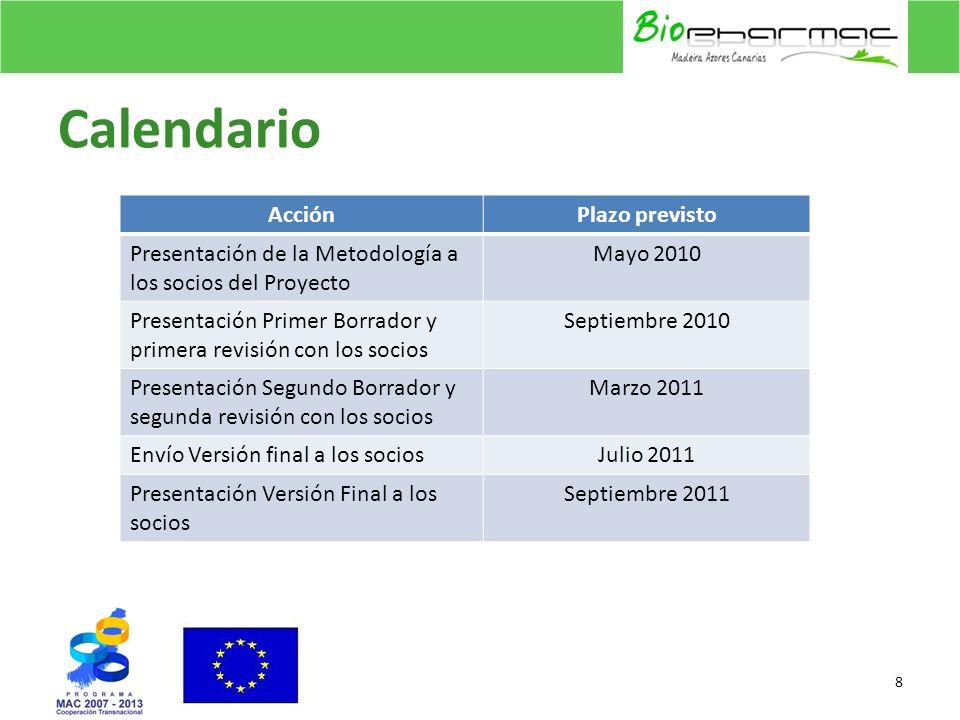 Calendario 8 AcciónPlazo previsto Presentación de la Metodología a los socios del Proyecto Mayo 2010 Presentación Primer Borrador y primera revisión c