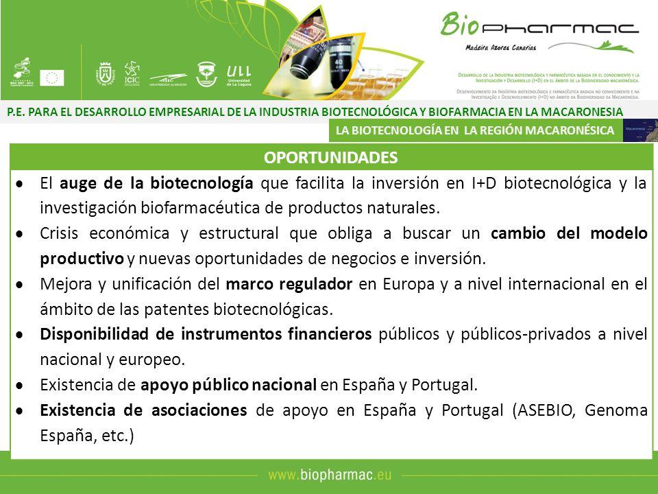 P.E. PARA EL DESARROLLO EMPRESARIAL DE LA INDUSTRIA BIOTECNOLÓGICA Y BIOFARMACIA EN LA MACARONESIA LA BIOTECNOLOGÍA EN LA REGIÓN MACARONÉSICA OPORTUNI