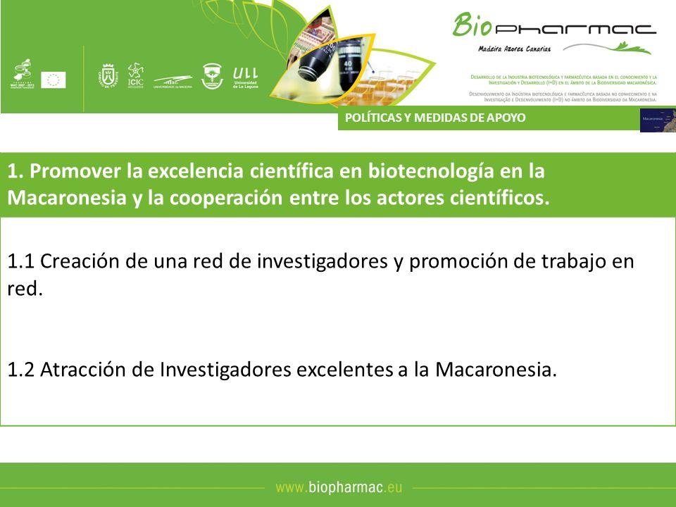 1. Promover la excelencia científica en biotecnología en la Macaronesia y la cooperación entre los actores científicos. 1.1 Creación de una red de inv