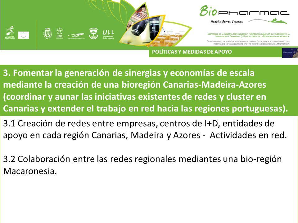 3. Fomentar la generación de sinergias y economías de escala mediante la creación de una bioregión Canarias-Madeira-Azores (coordinar y aunar las inic