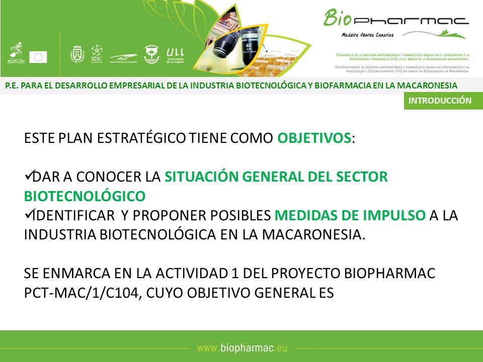 P.E. PARA EL DESARROLLO EMPRESARIAL DE LA INDUSTRIA BIOTECNOLÓGICA Y BIOFARMACIA EN LA MACARONESIA ESTE PLAN ESTRATÉGICO TIENE COMO OBJETIVOS: DAR A C
