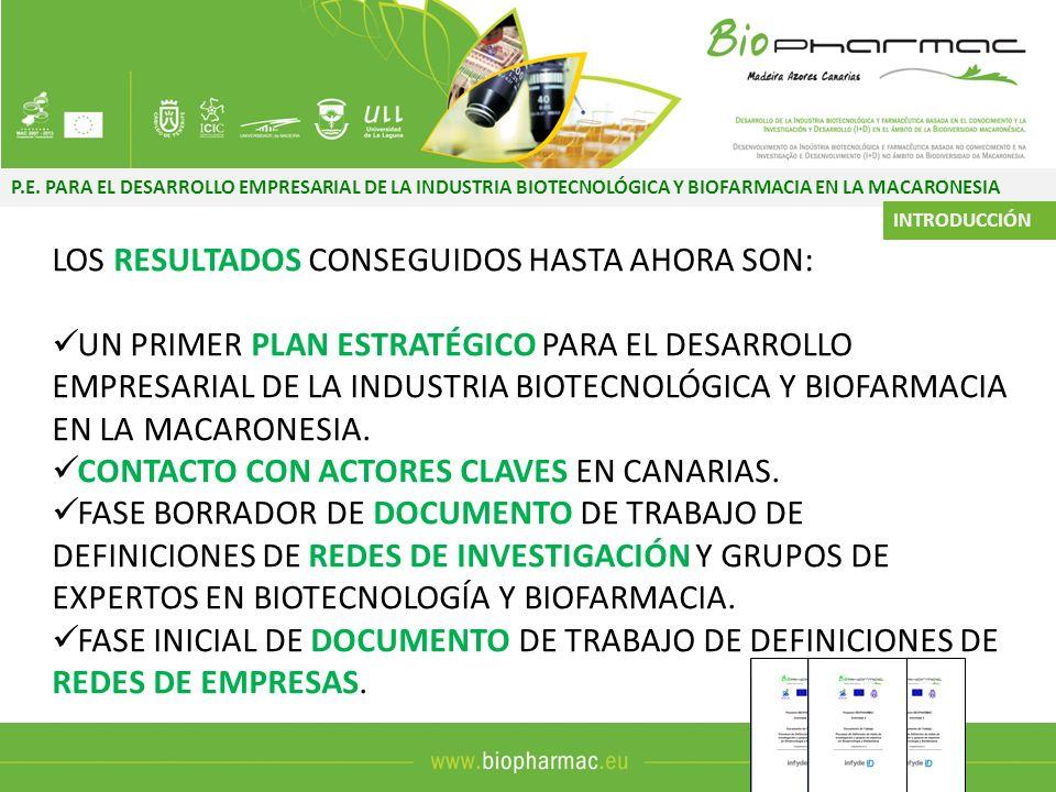 P.E. PARA EL DESARROLLO EMPRESARIAL DE LA INDUSTRIA BIOTECNOLÓGICA Y BIOFARMACIA EN LA MACARONESIA LOS RESULTADOS CONSEGUIDOS HASTA AHORA SON: UN PRIM