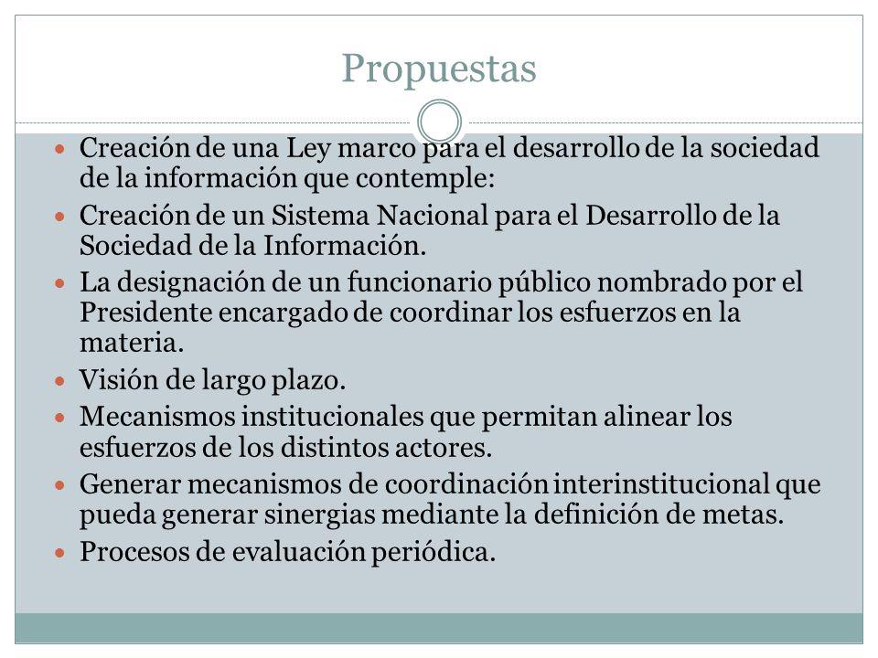 Propuestas Creación de una Ley marco para el desarrollo de la sociedad de la información que contemple: Creación de un Sistema Nacional para el Desarr