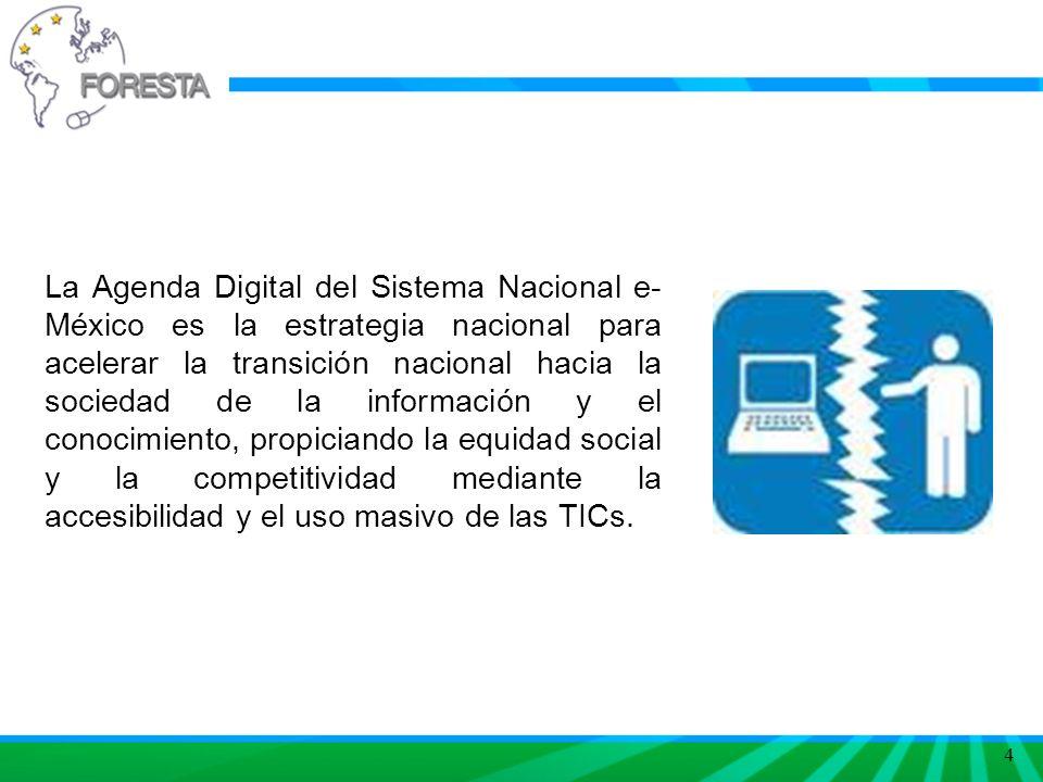 4 La Agenda Digital del Sistema Nacional e- México es la estrategia nacional para acelerar la transición nacional hacia la sociedad de la información y el conocimiento, propiciando la equidad social y la competitividad mediante la accesibilidad y el uso masivo de las TICs.