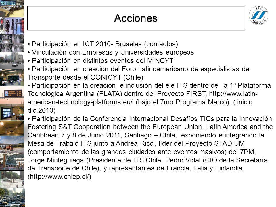 Participación en ICT 2010- Bruselas (contactos) Vinculación con Empresas y Universidades europeas Participación en distintos eventos del MINCYT Partic