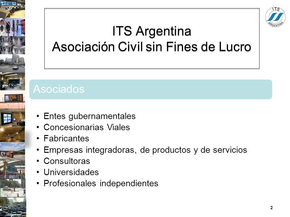 ITS Argentina Asociación Civil sin Fines de Lucro Asociados Entes gubernamentales Concesionarias Viales Fabricantes Empresas integradoras, de producto