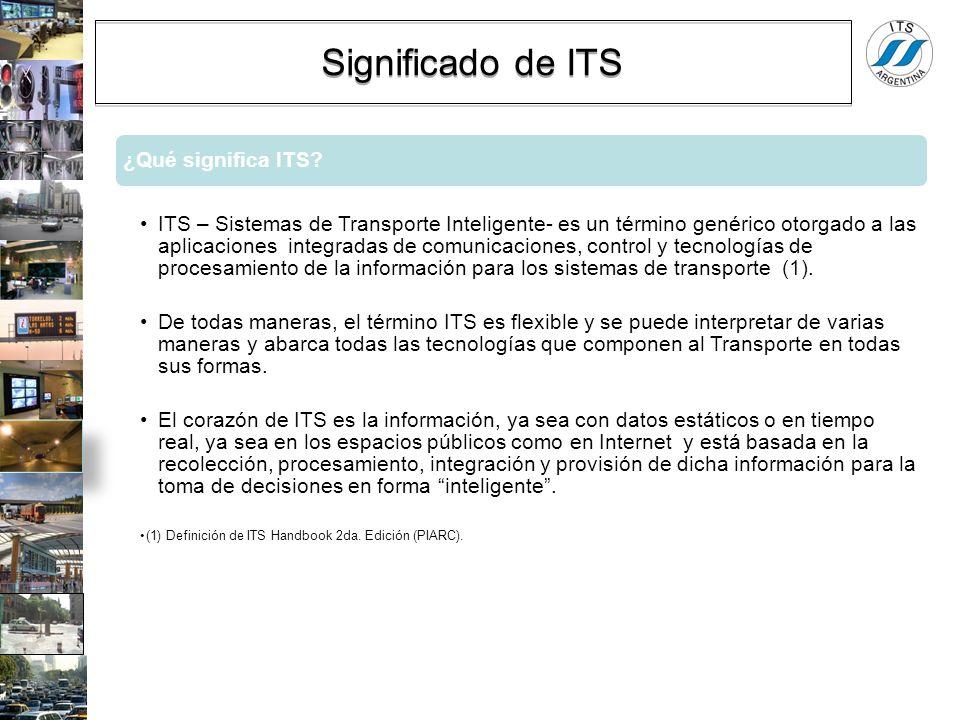 ¿Qué significa ITS? ITS – Sistemas de Transporte Inteligente- es un término genérico otorgado a las aplicaciones integradas de comunicaciones, control
