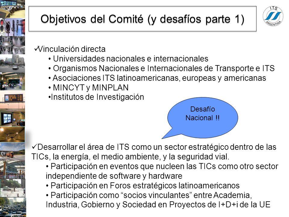 Objetivos del Comité (y desafíos parte 1) Vinculación directa Universidades nacionales e internacionales Organismos Nacionales e Internacionales de Tr