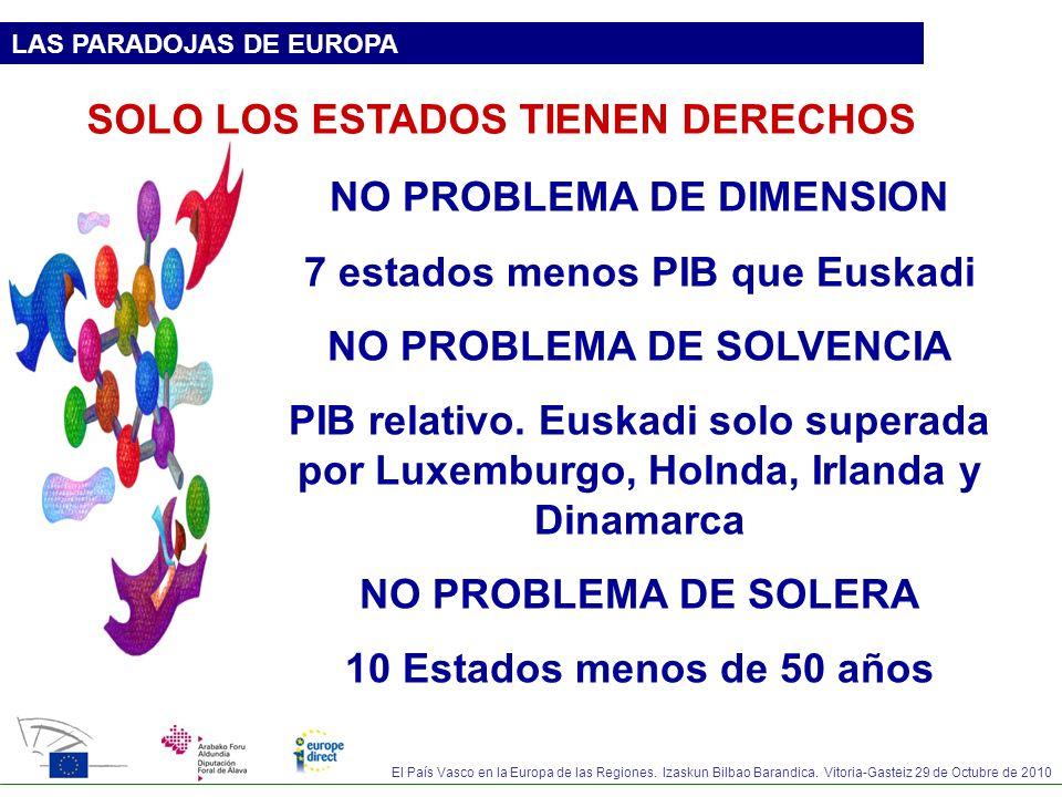 El País Vasco en la Europa de las Regiones. Izaskun Bilbao Barandica. Vitoria-Gasteiz 29 de Octubre de 2010 LAS PARADOJAS DE EUROPA SOLO LOS ESTADOS T