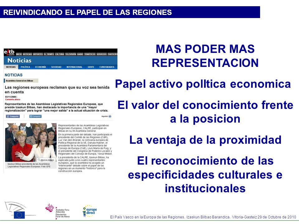 El País Vasco en la Europa de las Regiones. Izaskun Bilbao Barandica. Vitoria-Gasteiz 29 de Octubre de 2010 REIVINDICANDO EL PAPEL DE LAS REGIONES MAS