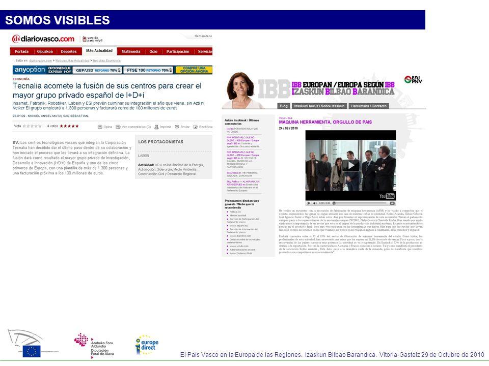El País Vasco en la Europa de las Regiones. Izaskun Bilbao Barandica. Vitoria-Gasteiz 29 de Octubre de 2010 SOMOS VISIBLES
