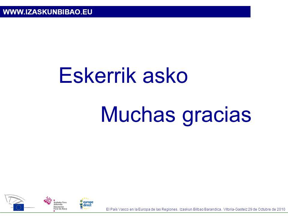 El País Vasco en la Europa de las Regiones. Izaskun Bilbao Barandica. Vitoria-Gasteiz 29 de Octubre de 2010 WWW.IZASKUNBIBAO.EU Eskerrik asko Muchas g
