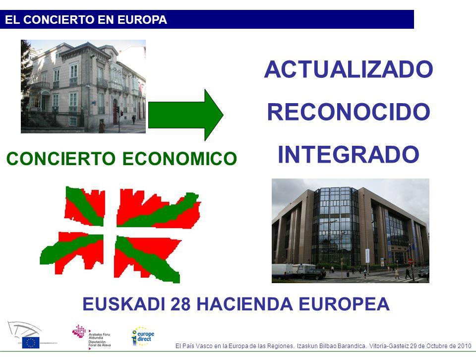 El País Vasco en la Europa de las Regiones. Izaskun Bilbao Barandica. Vitoria-Gasteiz 29 de Octubre de 2010 EL CONCIERTO EN EUROPA CONCIERTO ECONOMICO