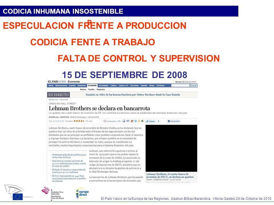 El País Vasco en la Europa de las Regiones. Izaskun Bilbao Barandica. Vitoria-Gasteiz 29 de Octubre de 2010 CODICIA INHUMANA INSOSTENIBLE ESPECULACION