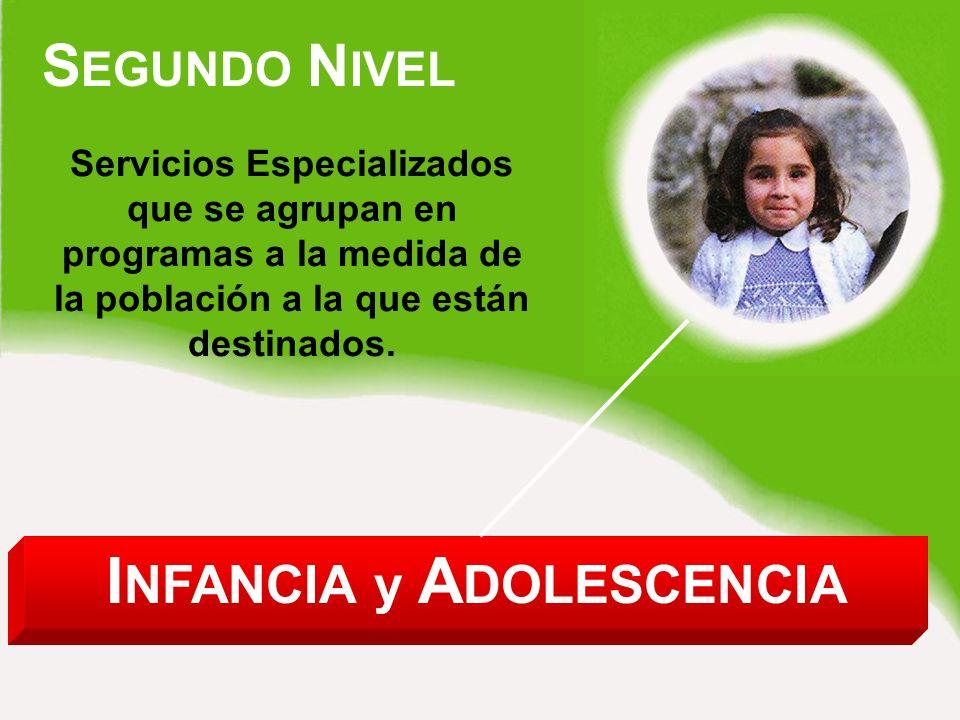 I NFANCIA y A DOLESCENCIA S EGUNDO N IVEL Servicios Especializados que se agrupan en programas a la medida de la población a la que están destinados.
