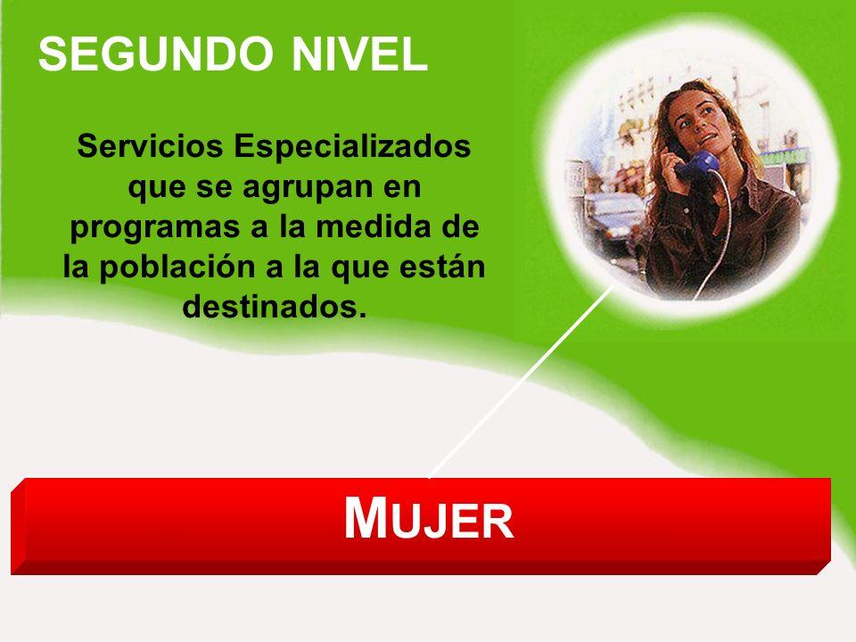 M UJER SEGUNDO NIVEL Servicios Especializados que se agrupan en programas a la medida de la población a la que están destinados.