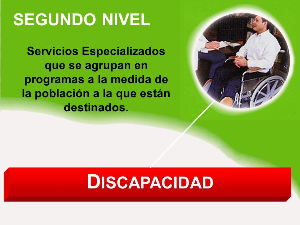 SEGUNDO NIVEL D ISCAPACIDAD Servicios Especializados que se agrupan en programas a la medida de la población a la que están destinados.