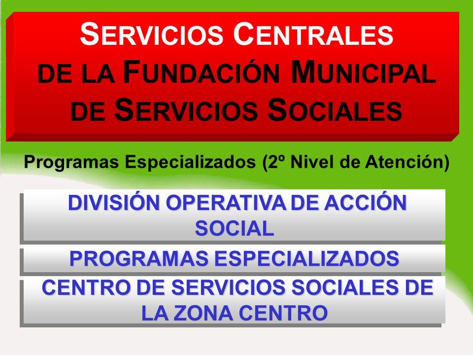 S ERVICIOS C ENTRALES DE LA F UNDACIÓN M UNICIPAL DE S ERVICIOS S OCIALES DIVISIÓN OPERATIVA DE ACCIÓN SOCIAL DIVISIÓN OPERATIVA DE ACCIÓN SOCIAL DIVISIÓN OPERATIVA DE ACCIÓN SOCIAL Programas Especializados (2º Nivel de Atención) PROGRAMAS ESPECIALIZADOS PROGRAMAS ESPECIALIZADOS CENTRO DE SERVICIOS SOCIALES DE LA ZONA CENTRO CENTRO DE SERVICIOS SOCIALES DE LA ZONA CENTRO CENTRO DE SERVICIOS SOCIALES DE LA ZONA CENTRO