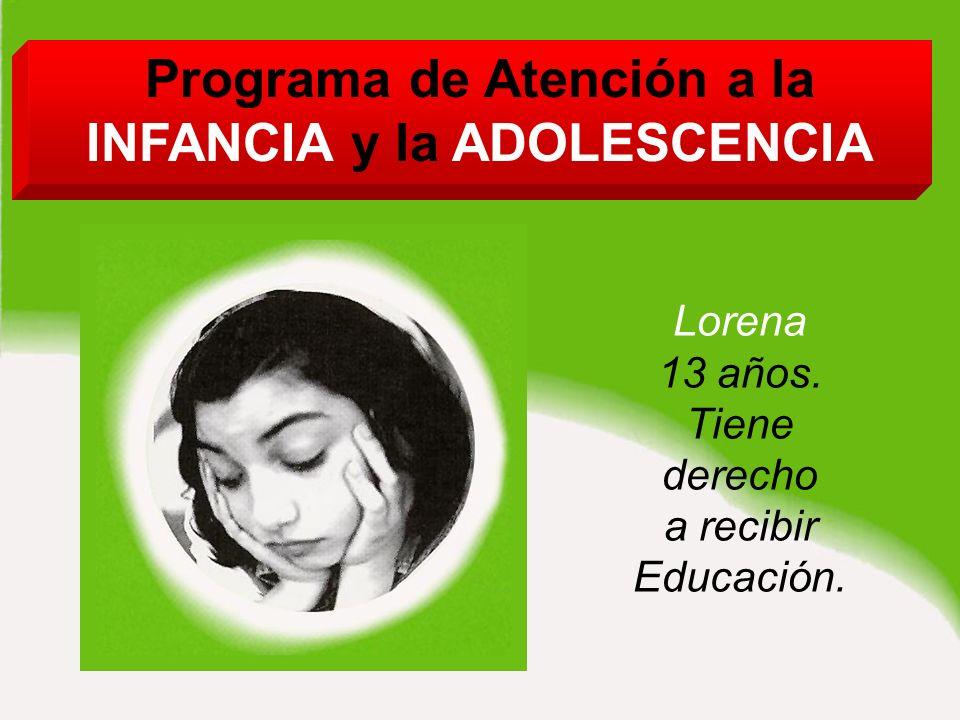 Programa de Atención a la INFANCIA y la ADOLESCENCIA Lorena 13 años.