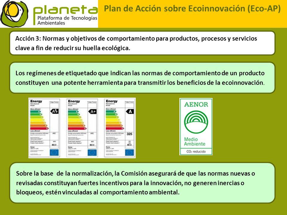 Plan de Acción sobre Ecoinnovación (Eco-AP) Acción 3: Normas y objetivos de comportamiento para productos, procesos y servicios clave a fin de reducir