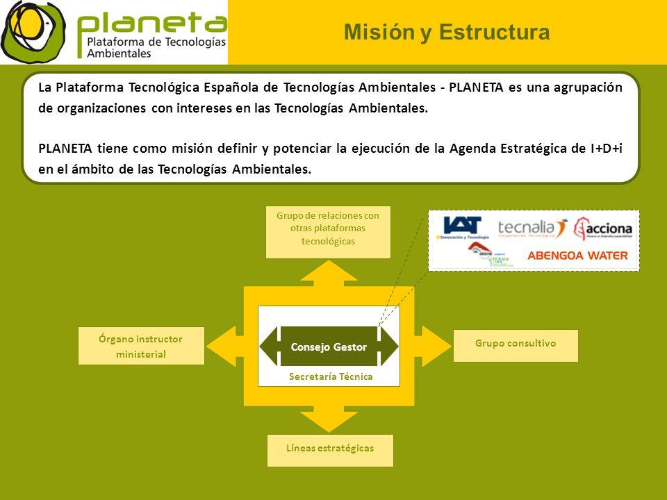 Misión y Estructura La Plataforma Tecnológica Española de Tecnologías Ambientales - PLANETA es una agrupación de organizaciones con intereses en las T
