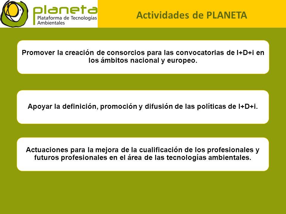 Actividades de PLANETA Promover la creación de consorcios para las convocatorias de I+D+i en los ámbitos nacional y europeo. Apoyar la definición, pro