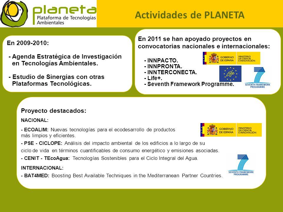 Actividades de PLANETA En 2011 se han apoyado proyectos en convocatorias nacionales e internacionales: - INNPACTO. - INNPRONTA. - INNTERCONECTA. - Lif