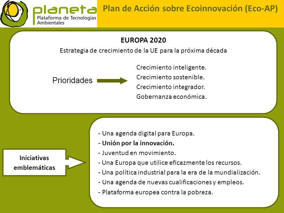 - Una agenda digital para Europa. - Unión por la innovación. - Juventud en movimiento. - Una Europa que utilice eficazmente los recursos. - Una políti