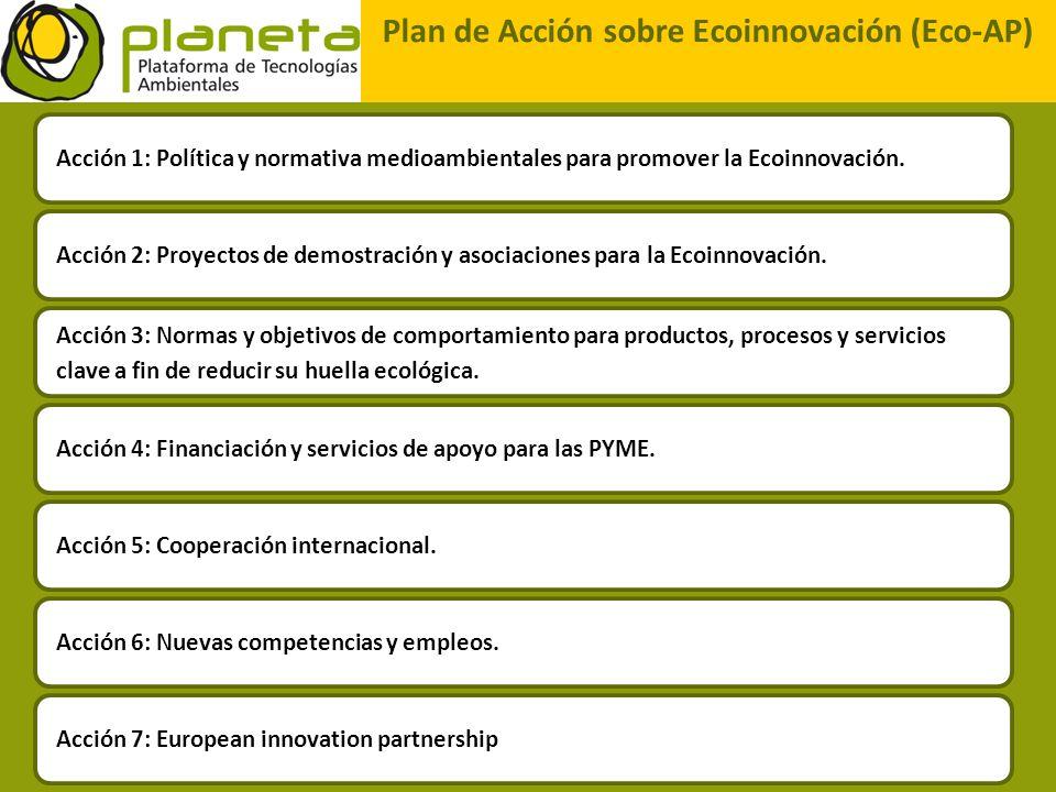 Plan de Acción sobre Ecoinnovación (Eco-AP) Acción 6: Nuevas competencias y empleos. Acción 1: Política y normativa medioambientales para promover la