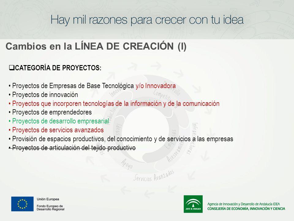 Cambios en la LÍNEA DE CREACIÓN (I) CATEGORÍA DE PROYECTOS: Proyectos de Empresas de Base Tecnológica y/o Innovadora Proyectos de innovación Proyectos