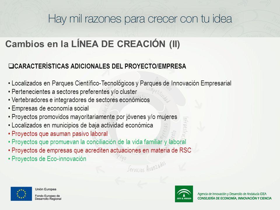 Cambios en la LÍNEA DE CREACIÓN (II) CARACTERÍSTICAS ADICIONALES DEL PROYECTO/EMPRESA Localizados en Parques Científico-Tecnológicos y Parques de Inno