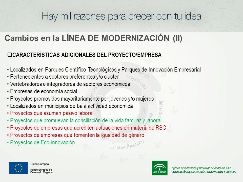 Cambios en la LÍNEA DE MODERNIZACIÓN (II) CARACTERÍSTICAS ADICIONALES DEL PROYECTO/EMPRESA Localizados en Parques Científico-Tecnológicos y Parques de