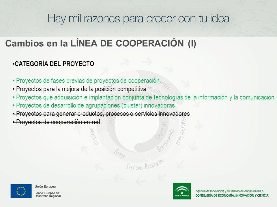 Cambios en la LÍNEA DE COOPERACIÓN (I) CATEGORÍA DEL PROYECTO Proyectos de fases previas de proyectos de cooperación. Proyectos para la mejora de la p