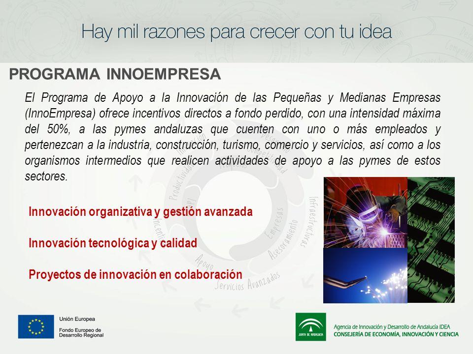 PROGRAMA INNOEMPRESA El Programa de Apoyo a la Innovación de las Pequeñas y Medianas Empresas (InnoEmpresa) ofrece incentivos directos a fondo perdido
