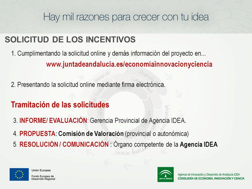 SOLICITUD DE LOS INCENTIVOS 1. Cumplimentando la solicitud online y demás información del proyecto en... www.juntadeandalucia.es/economíainnovacionyci