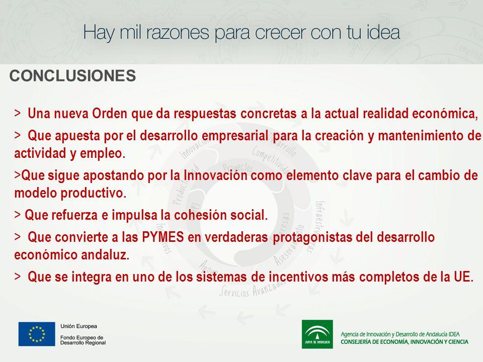 CONCLUSIONES > Una nueva Orden que da respuestas concretas a la actual realidad económica, > Que apuesta por el desarrollo empresarial para la creació