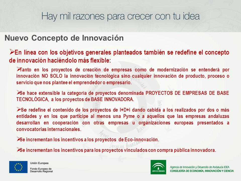 Nuevo Concepto de Innovación En línea con los objetivos generales planteados también se redefine el concepto de innovación haciéndolo más flexible: Ta