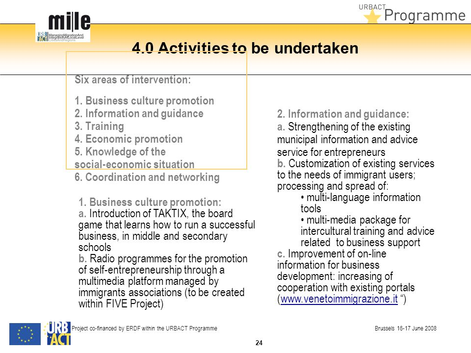 4.0 Activities to be undertaken Six areas of intervention: 1. Business culture promotion 2. Information and guidance 3. Training 4. Economic promotion