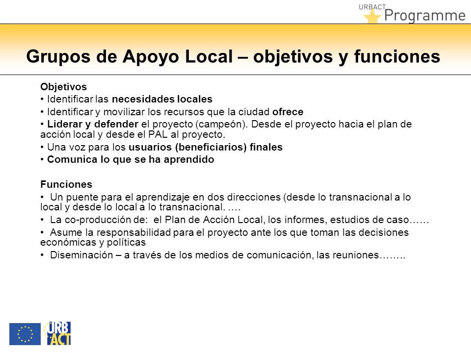 Grupos de Apoyo Local – objetivos y funciones Objetivos Identificar las necesidades locales Identificar y movilizar los recursos que la ciudad ofrece Liderar y defender el proyecto (campeón).