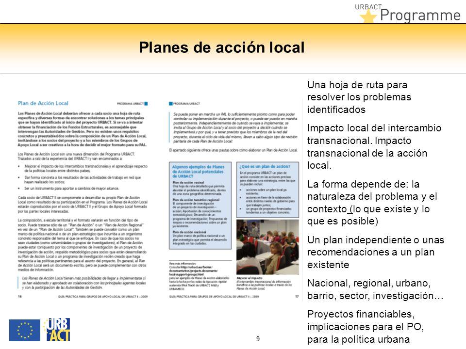 9 Planes de acción local Una hoja de ruta para resolver los problemas identificados Impacto local del intercambio transnacional. Impacto transnacional