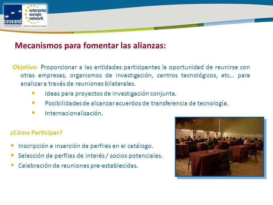Objetivo: Proporcionar a las entidades participantes la oportunidad de reunirse con otras empresas, organismos de investigación, centros tecnológicos, etc… para analizar a través de reuniones bilaterales.