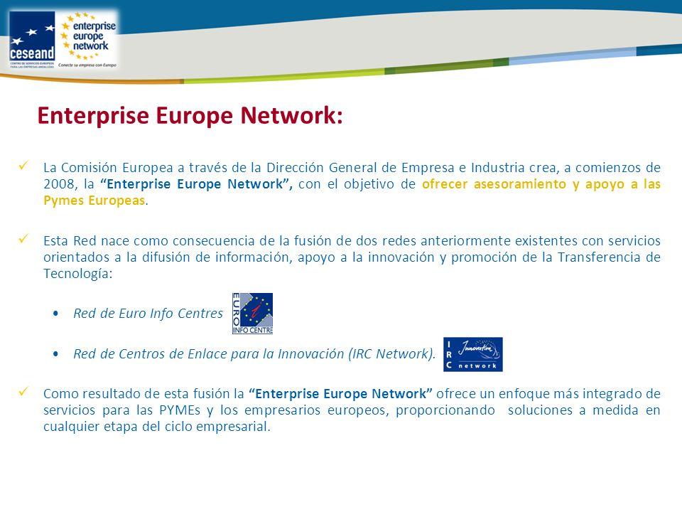 La Comisión Europea a través de la Dirección General de Empresa e Industria crea, a comienzos de 2008, la Enterprise Europe Network, con el objetivo de ofrecer asesoramiento y apoyo a las Pymes Europeas.