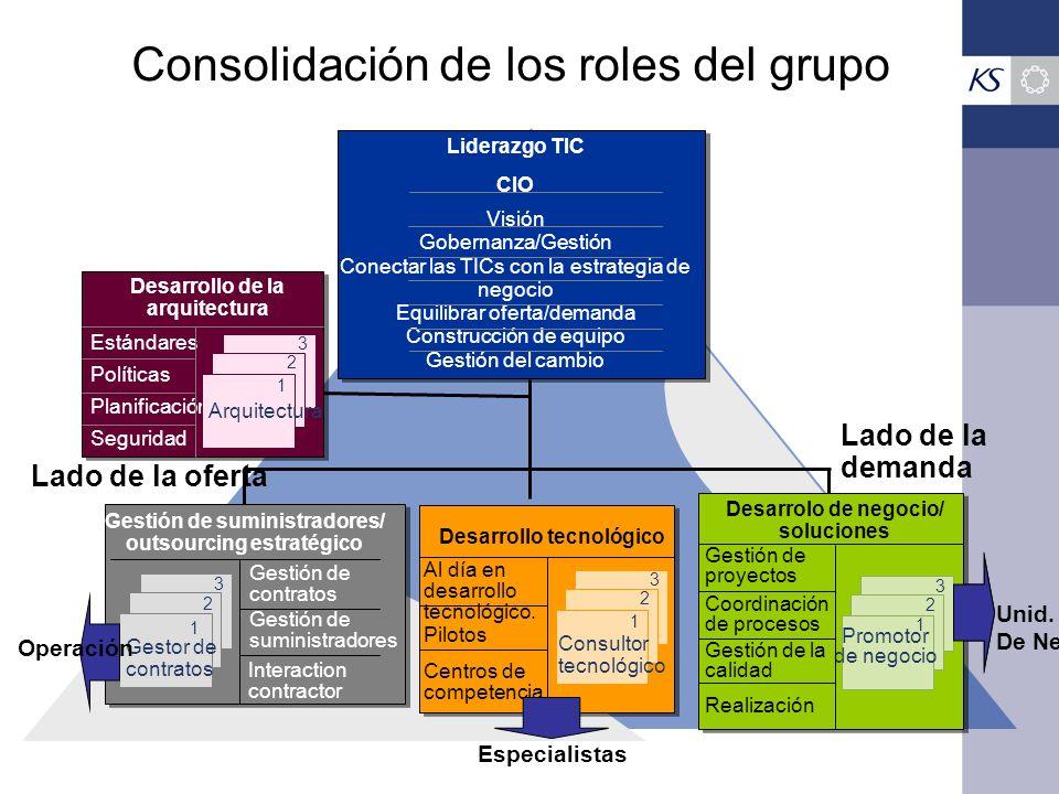 Consolidación de los roles del grupo Liderazgo TIC CIO Visión Gobernanza/Gestión Conectar las TICs con la estrategia de negocio Equilibrar oferta/dema