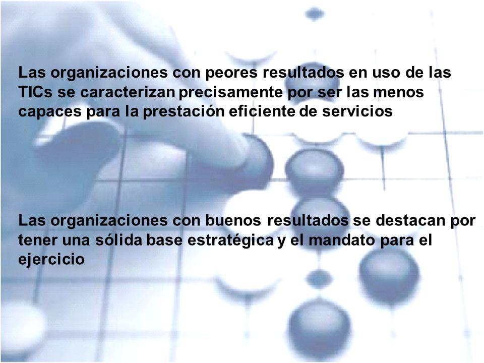 IT Strategy – A CIO Success Kit 4 Las organizaciones con peores resultados en uso de las TICs se caracterizan precisamente por ser las menos capaces p