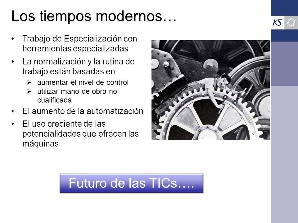 Los tiempos modernos… Trabajo de Especialización con herramientas especializadas La normalización y la rutina de trabajo están basadas en: aumentar el