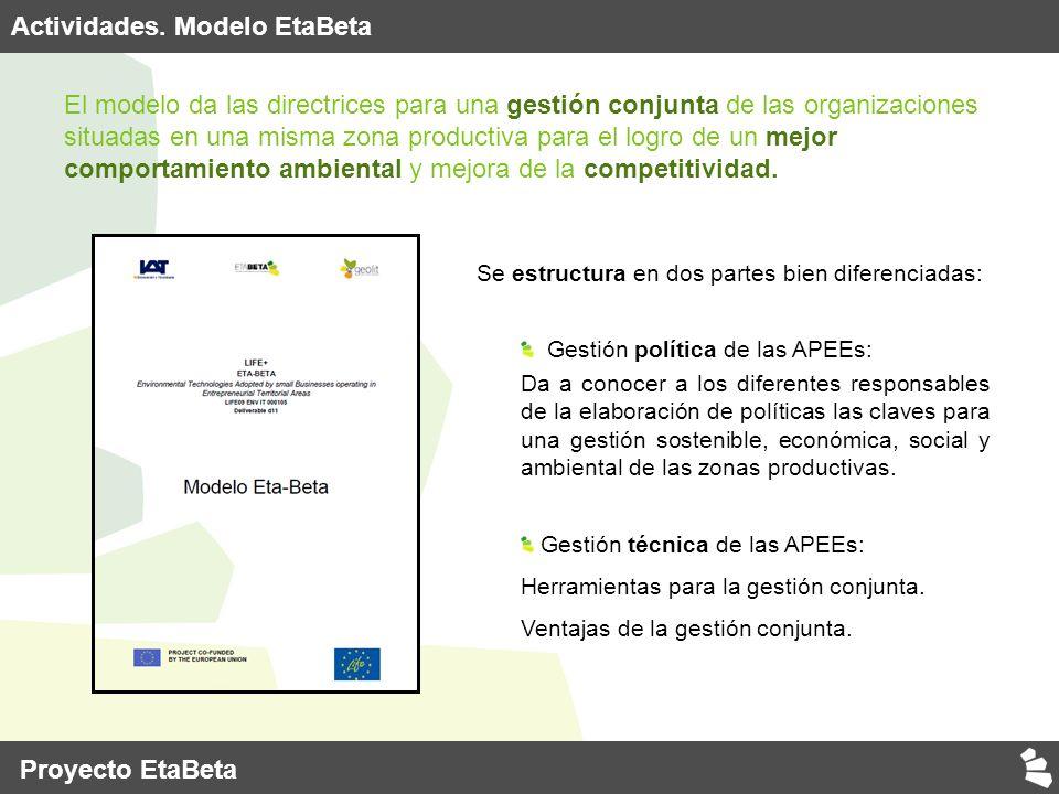 El modelo da las directrices para una gestión conjunta de las organizaciones situadas en una misma zona productiva para el logro de un mejor comportamiento ambiental y mejora de la competitividad.